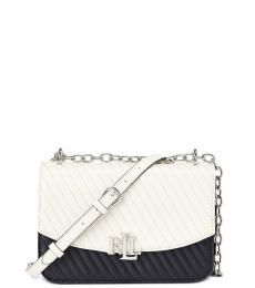Ralph Lauren White Navy Quilted Madison Small Shoulder Bag