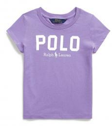 Ralph Lauren Little Girls Hampton Purple Logo T-Shirt