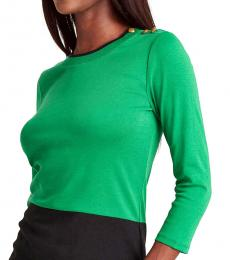 Green Color-Blocked Sweater Top