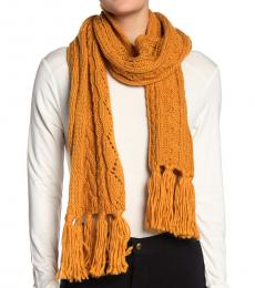 Gold Pointelle Cable-Knit Scarf