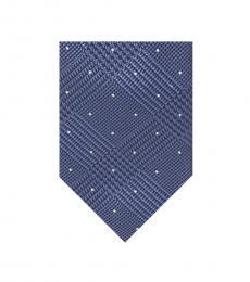 Slate Blue Glen Check With Dot Tie