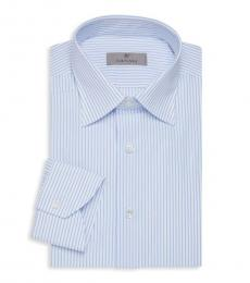 Canali Light Blue Modern-Fit Striped Shirt