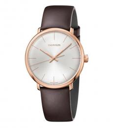 Calvin Klein Brown Silver Dial Logo Watch