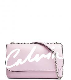 Calvin Klein Peony Logo Flap Large Shoulder Bag