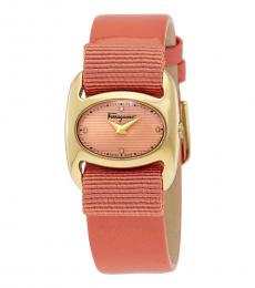 Salvatore Ferragamo Peach Gold Enamel Dial Watch