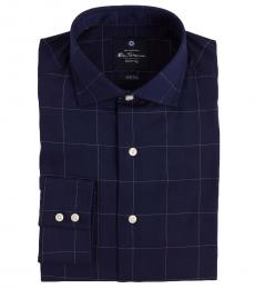 Navy Blue Windowpane Dress Shirt