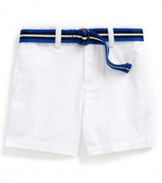 Baby Boys White Belted Chino Shorts