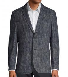Dark Blue Textured Cotton Blazer