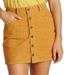 Billabong Mustard Corduroy Mini Skirt