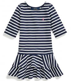Ralph Lauren Little Girls French Navy Striped Stretch Jersey Dress
