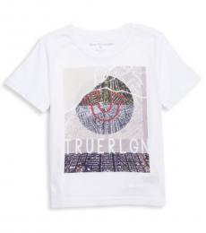 Little Boys White Map Graphic T-Shirt