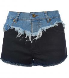 Dark Blue Colorblock High Rise Shorts