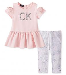 Calvin Klein 2 Piece Dress/Leggings Set (Little Girls)