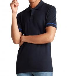 Navy Blue Line Short Sleeve Polo