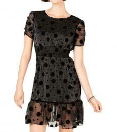 Betsey Johnson Black/Silver Metallic Sheer Party Dress