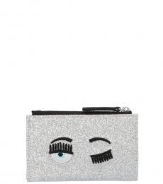 Chiara Ferragni Silver Glitter Cardholder