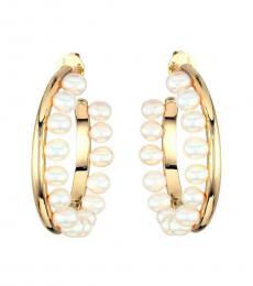 Tory Burch Gold Pearl-Fringe Hoop Earrings