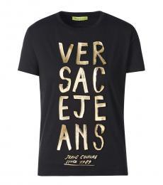 Versace Jeans Black Round Neck Logo Tee
