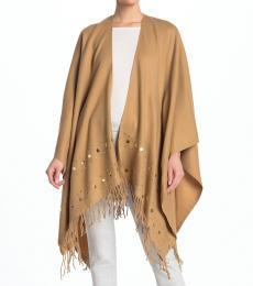 Michael Kors Dk Camel Embellished Fringe Trim Shawl