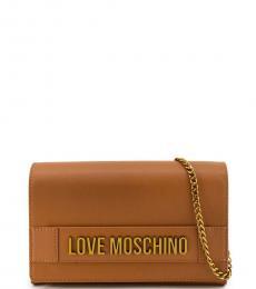 Love Moschino Brown Logo Letter Small Crossbody