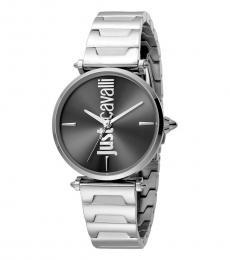 Just Cavalli Silver Black Dial Watch