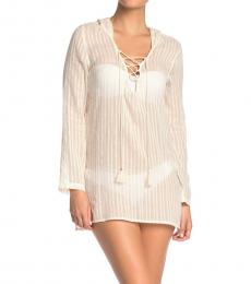 Billabong White Hooded Cover-Up Tunic