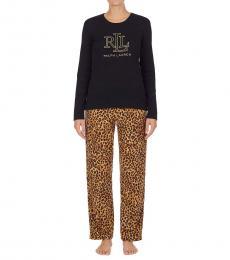 Ralph Lauren Leopard Logo Knit Top Fleece Pants Pajama Set