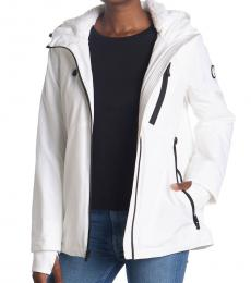 Michael Kors White Plush Lined Zip Front Hooded Jacket