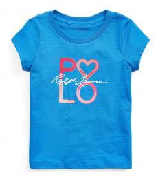 Ralph Lauren Little Girls Blue Logo Jersey T-Shirts