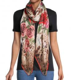 Roberto Cavalli Red Floral Animal-Print Scarf