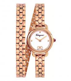 Salvatore Ferragamo Rose Gold Varina White Dial Watch