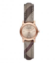 Burberry Brown Rose Haymarket Check Watch