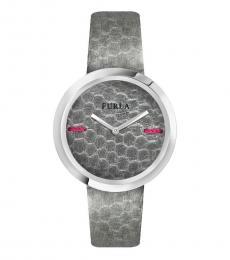 Furla Grey Textured Logo Watch