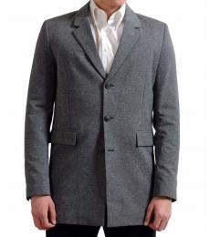 Dark Grey Wool Silk Three Button Blazer