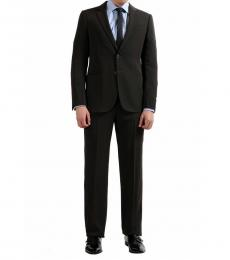 Brown Solid Modern Fit Wool Suit