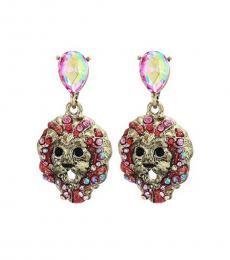 Betsey Johnson Pink Lion Dangle Earrings