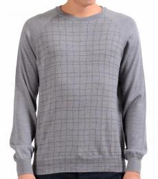 Armani Collezioni Grey Crewneck Plaid Sweater