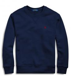 Ralph Lauren Boys Navy Cotton-Blend-Fleece Sweatshirt