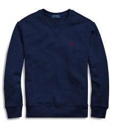 Ralph Lauren Boys Navy Cotton-Blend-Fleece Sweatshirt