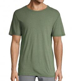 AG Adriano Goldschmied Green Crewneck Cotton Tee
