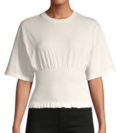 Rebecca Minkoff Ecru Shirred Short-Sleeve Cotton Top
