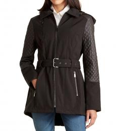 Michael Kors Black Quilted Sleeve Faux Fur Jacket