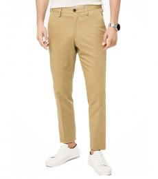 Khaki Slim-Fit Stretch-Cotton Trousers