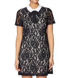 BlackWhite Lace Neck Tie Shift Dress