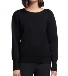 Black Shoulder Pleat Sweater