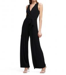 DKNY Black V-Neck Jersey Jumpsuit
