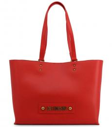 Love Moschino Red Solid Large Tote