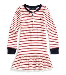 Little Girls Clubhouse Cream Striped Dress