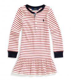 Ralph Lauren Little Girls Clubhouse Cream Striped Dress