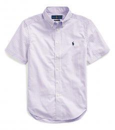 Boys English Lavender Gingham Poplin Shirt